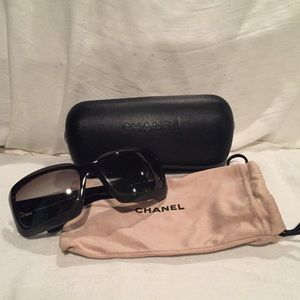 Chanel Ombré Black to Deep Green CC Sunglasses
